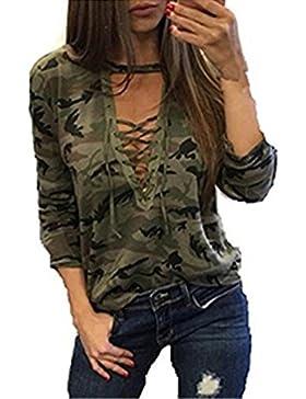 Mujer Camisetas Manga Larga Originales Basicas Camuflaje Tops Elegantes Moda Fiesta V Cuello Primavera Otoño Militares...