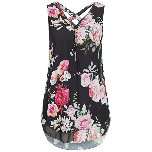 FNKDOR Summer Women Holiday Beach Traveling Colorful Charming Suit Loose Flowers Chiffon Sleeveless Tank V-Neck Zipper Hem Scoop T Shirts Tops Vest Cami