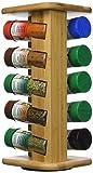 Kesper Gewürzkarussell mit 10 Gefüllten Gewürzgläsern 110 ml, Holz, Braun, 15 x 13 x 32.5 cm