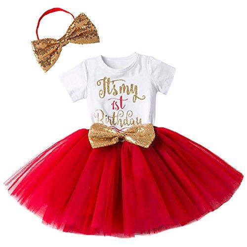 Baby Mädchen Ist es Mein 1. / 2. Geburtstags Kleid Sequin Tütü Prinzessin Glitzernde Bowknot Partykleid Neugeborene Säuglings Kleinkind 1.Weihnachten Fotoshooting Outfits Kostüm Rot (Kleinkind Weihnachten Kostüm)