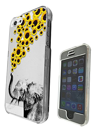 c0078 - Funky Aztec elephant Floral Sunflowers Trunk Design Für iphone 5 5S Fashion Trend Hülle Schutzhülle Schutzcase Hartplastik komplett Hülle Vorder-und Rück (Hartplastik-trunks)