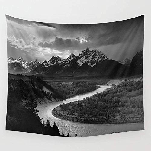KIMIOE Wandteppiche Ansel Adams The Tetons and Snake River Wall Tapestry Hanging Tapestries,Boho Mandala Tapestry,Wall Art for Bedroom Living Room Dorm 80X60 inches -