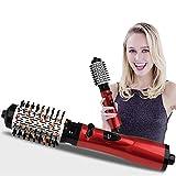 SKFG® Rouge Faire Pivoter Brosse Sèche Cheveux, Rotation automatique à 360 ° Brosse soufflante 750W Soufflante brush Revêtement en Tourmaline Brosse Rotative Séchante