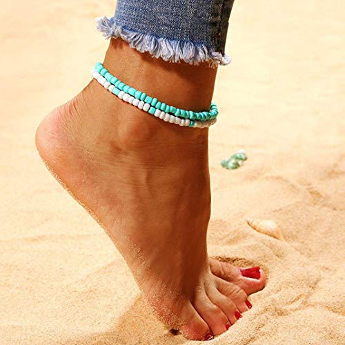 Bobopai Anklet Bracelet Foot Accessories Fashion Double Chain Beach Jewelry Barefoot Charm Bead Ankle Bracelet - Bohemian Style Adjustable Women Girls (Mint Green) Bone China-mint