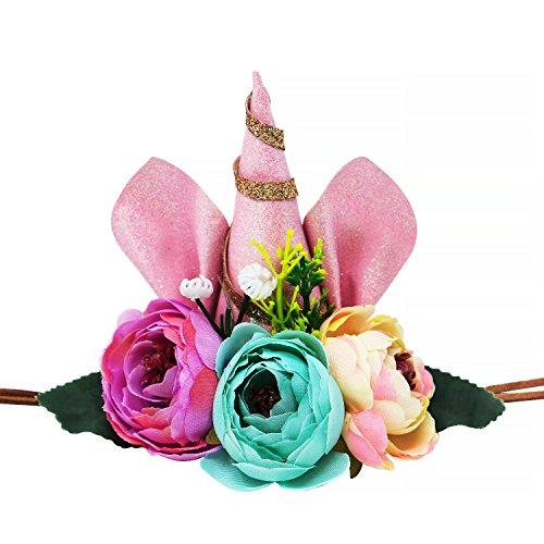 Vamei Unicorn Stirnband Einhorn Geburtstag Party Blume Hut Krone mit Glitter Ohren für Kinder und Erwachsene (Besten Gesicht Am Zwei Kostüm)