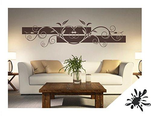 Exklusivpro Wandtattoo Wandbanner Blumen Ranke Wohnzimmer Schlafzimmer Bordüre (ban32 schwarz) 180 x 48 cm mit Farb- u. Größenauswahl
