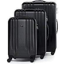 FERGÉ Juego de maletas de viaje MARSELLA Trolley funda Rígida 4 ruedas negro