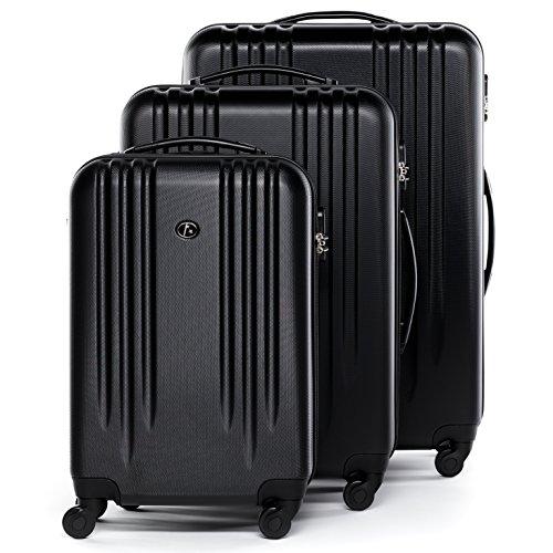 FERGÉ set di 3 valigie viaggio MARSIGLIA - bagaglio rigido dure leggera 3 pezzi valigetta 4 ruote girevole nero