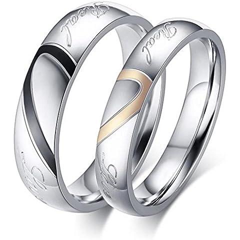 Alimab gioielli anelli donna Acciaio inossidabile acciaio liscio Banda nozze
