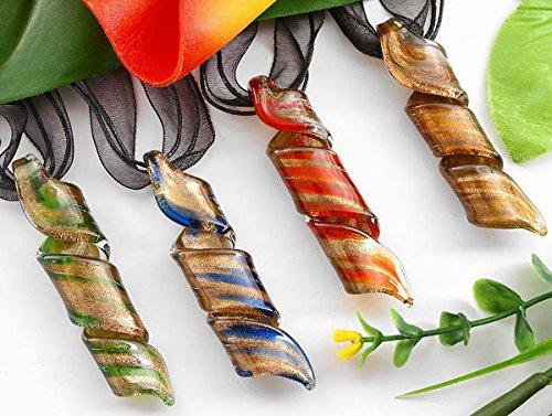 Preisvergleich Produktbild Skyllc® 4 X Hanf Blumen Twisted Gold Sand Bottom Murano GlasLampwork Anhänger Halskette Größe 65 * 15mm 4 Farben