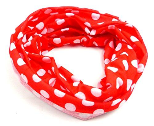 Nicki-Tücher 50er Jahre Stil Mütze rot-weiss Punkte Beanie-Kopftuch Herren Damen Kinder 18fach Universal Nickituch Halloween Fasching Mundschutz Bandana Biker Halstuch Armband