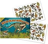 Mauder Stickeralbum mit über 70 Sticker * Dinos * von Lutz 72018 | T-Rex Dinosaurier Tattoo Kindersticker Aufkleber Stickerbuch für Kinder