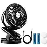 Merisny Mini Ventilatore USB tavolo Clip-on Desk Fan, Rotazione di 360 °, 3 velocità potente e silenzioso per Casa,Viaggio, Campeggio, Passeggino