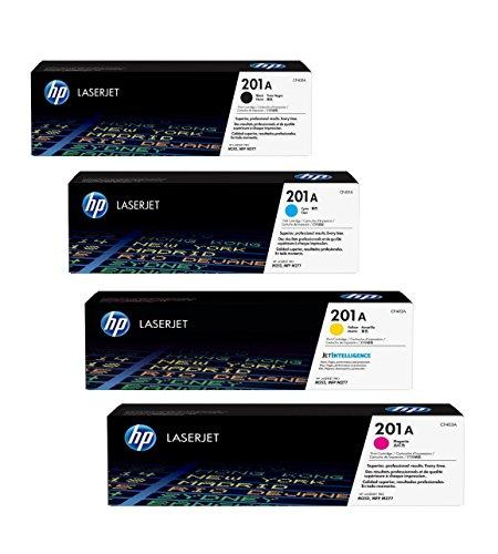 Preisvergleich Produktbild 4x Original HP Toner CF400A CF403A 201A für HP Color Laserjet Pro MFP 277 DW - Black, Cyan, Magenta, Yellow - Leistung: BK ca. 1500 Seiten / Farben ca. 1400 Seiten/5%