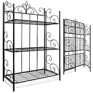 regal metallregal wandregal standregal gartenregal eisenregal klappbar k che haushalt. Black Bedroom Furniture Sets. Home Design Ideas