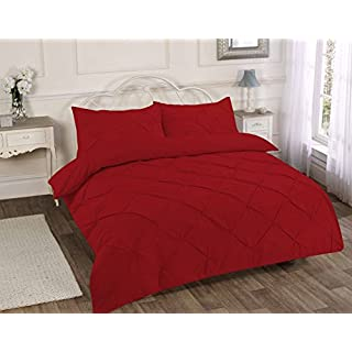 Amelia Textiles POLY COTTON EASY CARE ALEXANDER PINTUCK DUVET QUILT COVER PILLOWCASE BEDDING SET SINGLE DOUBLE KING SUPER KING SIZE (Red, King)
