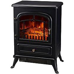 Homcom Cheminée électrique poêle Style rétro Thermostat 950-1850 W Noir