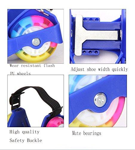 Da Jia Inc aufgerüstet 4 Räder Heel Wheels Rolls Funrollers Mit 3 LED Blinklicht PVC Flashing Heelys Verstellbare Flash Roller Easy-on Heel Skates bis 55kg Koerpergewicht Schwarz