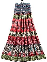 Niyatree - Falda Larga Media Vestido Larga para Mujer Ropa de Verano Playa Falda Maxi Bohemia Floral Summer Long dress Cinturón Elástico 2 maneras de usar - 3 color