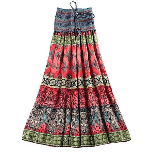 Mujer Falda Media Larga para Playa Verano Vestido Larga Maxi Bohemia Falda Floral para Chicas 2 maneras de usar Summer Long Dress Cinturón Elástico
