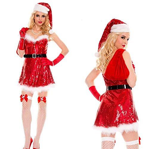 KAIDILA Santa Kostüm Sexy Cosplay Club Santa Spiel Kleid Sexy Adult Pailletten Kostüm Weihnachten