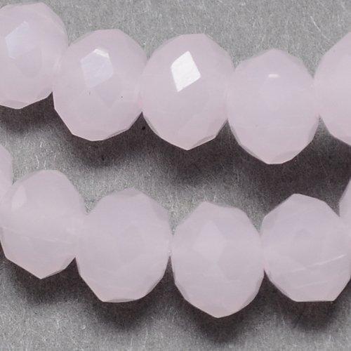 25 TSCHECHISCHE KRISTALL PERLEN GLASPERLEN 6mm x 4mm FROSTED ROSA Facettiert Rondell Glasschliffperlen Feuerpoliert Perle zum fädeln für DIY Schmuck Herstellung X82 -