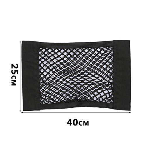 2PC Universal Schwarz Auto Seiten Rückseiten Stamm Lagerung Net Taschen Beutel Double Layer Beutel mit Klebe 40*25cm