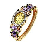 Crystal Bangle Cuff Bracelet Quartz Watch for Women Ladies Gold Plated Flower Jewellery Perimeter:20.5cm(Purple) by Oven Moda