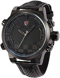 SHARK SH206–Reloj de pulsera de hombre, correa de piel color negro