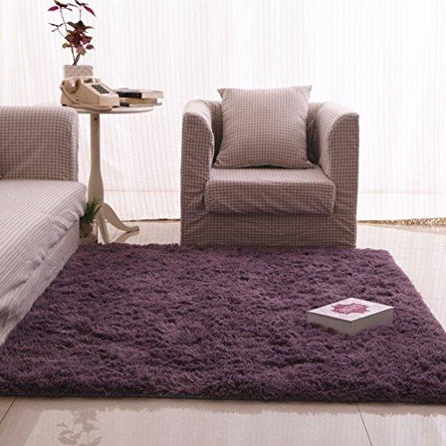 RUG LUYIASI- Kinder Schlafzimmer Teppich Wohnzimmer Teppich Sofa Europa Prinzessin Rechteck Blended Teppich Lange Haare Grob Shag Teppich Non-Slip mat (Farbe : Purple, größe : 140x200cm)