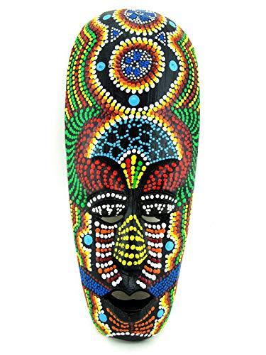 Kleine afrikanische Maske mit Blauer Orchidee, handgeschnitzt, Holz, Wanddekoration, asiatisches Tribal, bemalt, 24,1 cm Jamaican Magic