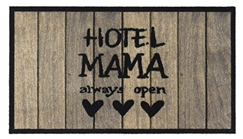 Fussmatte - Fußmatte - Schmutzabstreifer - Sauberlaufmatte - Türfußmatte - Fußabstreifer - Fußabtreter - Türmatte - Motivfußmatte - Fußmatte - Schmutzfangmatte - Hotel Mama - always open- witzig Grösse 40 x 70 cm