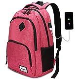 AUGUR Rucksack Laptop für Damen frauen mädchen Schulrucksack mit USB-Ladeanschluss Oxford,20-35L