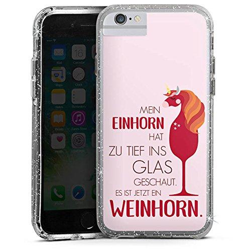 Apple iPhone 6 Bumper Hülle Bumper Case Glitzer Hülle Sayings Quotes Einhorn Bumper Case Glitzer silber