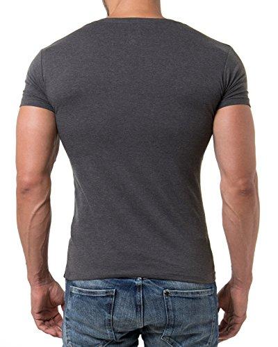 Young & Rich Herren T-Shirt V-Neck Body Fit Schwarz Weiß Rot Blau RRTS 1315 Anthrazit