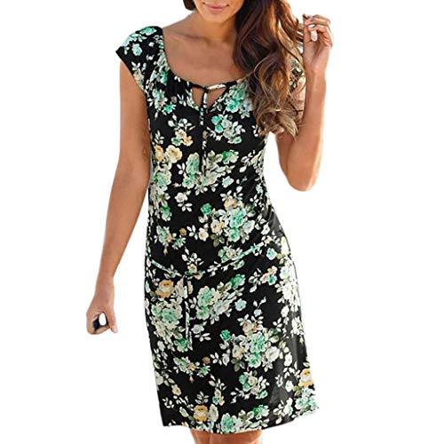 DEELIN Kleider Sommer Damen V-Ausschnitt Boho Print Sommerkleid Damen Knielang Kleid Damen Sommer Sleeveless Beilaufige Mini Beachwear Kleid Sommerkleid