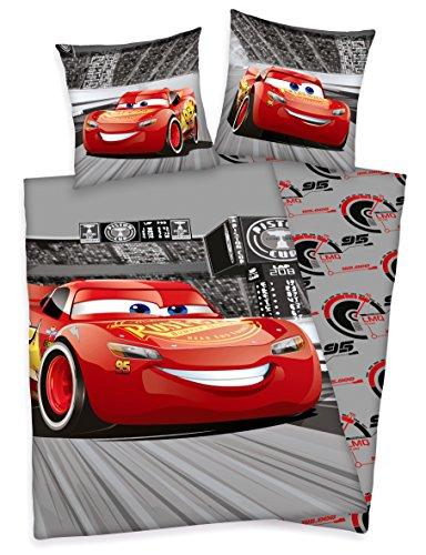 Herding Disney Cars 3 Bettwäsche, 80 x 80 cm + 135 x 200 cm 100% Baumwolle mit Reißverschluss (Cars Baby Bettwäsche)
