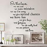 """Frase de pared adhesiva removible para decoración de la habitación con el diseño de """"In This House Home Rules"""" por Pixnor."""