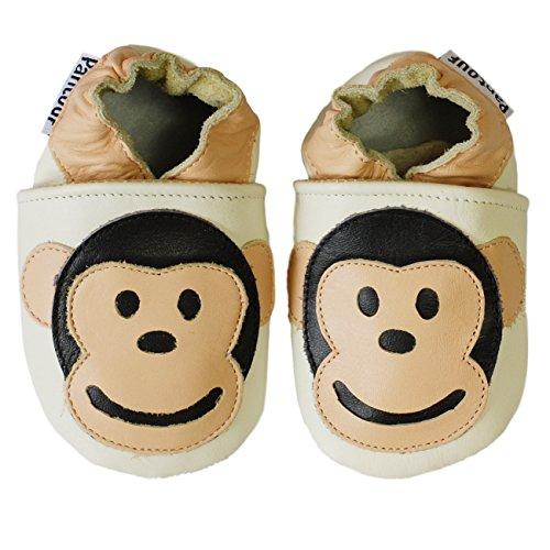 PantOUF Weiches Leder Babyschuhe und Kleinkind schuhe, Krabbelschuhe Beige mit einem Affen