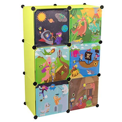 KEKSKRONE Großer Kinderschrank Bunte Motiv-Türen - DIY Stecksystem - 6 Module je 37 x 37 x 37 cm, Grün | Kinderzimmer-Schrank | Kinderkleiderschrank | Baby-Regal | Spielzeugkommode -