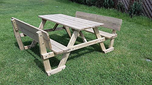 naturholz-shop Picknicktisch Bierbank 150 cm Picknickbank Bank Tisch mit Rückenlehne