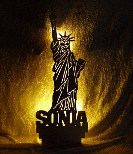 """Schlummerlicht24 Nachtlicht Deko Lampe Design """"USA Freiheitsstatue"""" Figur mit Name nach Wunsch, ideales Geschenk für USA Fans, als Deko Bild Lampe zum Zimmer verschönern, Wandtattoo"""