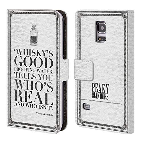 Head Case Designs Offizielle Peaky Blinders Whisky's Good Typographie Leder Brieftaschen Huelle kompatibel mit Samsung Galaxy S5 Mini (Blinds Mini)