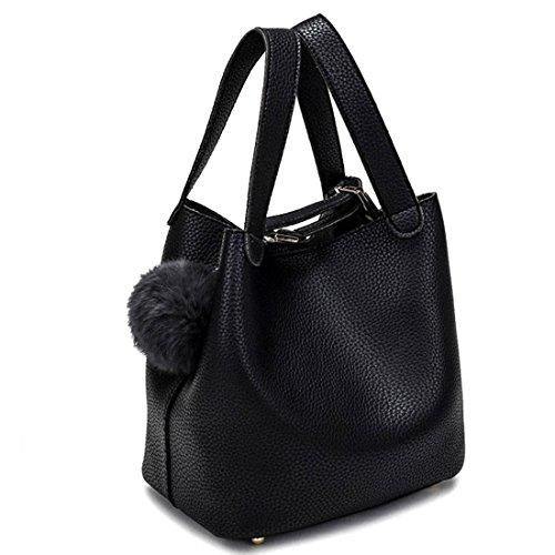 iTECHOR Grande capacità Bucket Bag Donne Moda borsetta Borsa a tracolla Nero