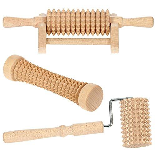 Bütic Holz Massagerollen Wellness Massage, Artikel:3er Set