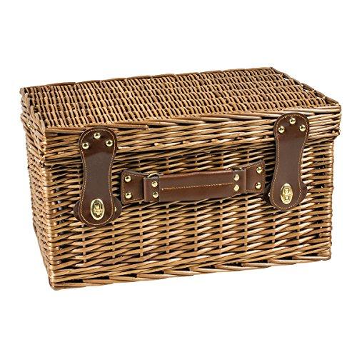 Luxus Picknickkorb für 4 Personen - inkl. Geschirr für 4 - Große Kühltasche - Schneidebrett - Brotmesser und vieles mehr