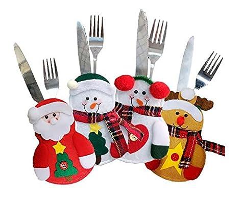 Harlem H 4pcs Weihnachten Tischgeschirr Halter Silberwaren Halter Taschen Messer Gabeltasche Schneemann Weihnachtsmann Elch Dekor für Weihnachten Abendessen Tischdekoration