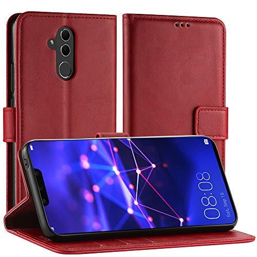 Simpeak Ersatz Huawei Mate 20 Lite Hülle Rot [6,3 Zoll], Case Cover Mate 20 Lite flipcase [Kartensteckplätze] [Stand Feature] [Magnetic Closure Snap] Rot Cover Case Snap
