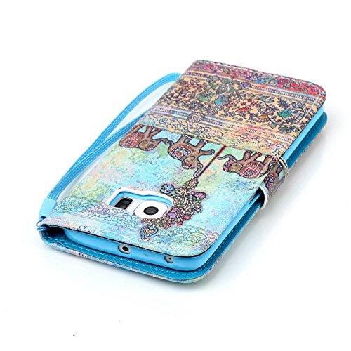Meet de Samsung Galaxy S6 Edge Bookstyle Étui Housse étui coque Case Cover smart flip cuir Case à rabat pour Galaxy S6 Edge Coque de protection Portefeuille - this iphone is locked slide to unloke éléphant ethnique