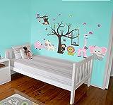 Vinilo decorativo adhesivo - Jirafa y elefante rosa. Pegatina de pared autoadhesiva e impermeable para niños y bebés. Ideal como regalo para una habitación infantil !